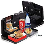 Zone Tech 2-Pack Multi-Functional Portable Foldable Car Seat Tray - Black Table/Car Vehicle Seat Portable Food/Meal/Snack Tray