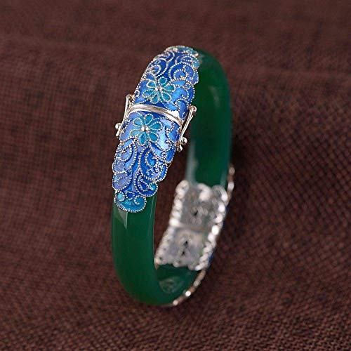 YBB-YB LXX-LX S925 Ladies Vintage Silver Bracelet Burned Blue Cloisonne Agate Creative Carving Temperament Personality Gift Chinese Classic