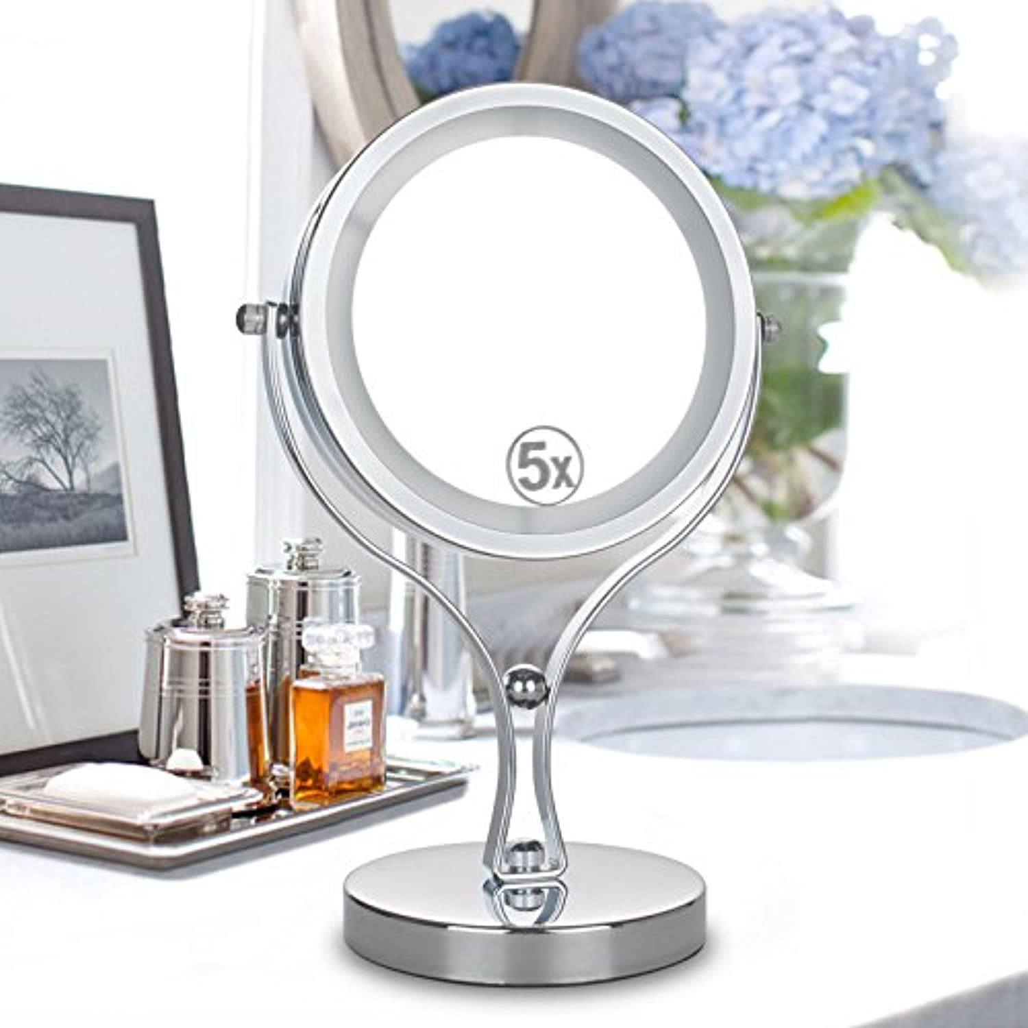 6 inch 5X Magnifying LED Lighted Double Size Makeup Mirror Stainless Steel 360 Degree redation Table Stand Mirror,14.9cmx18.3cm