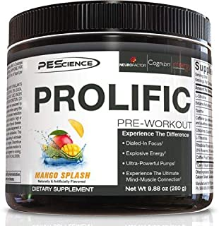 PEScience Prolific Preworkout, Mango Splash, 20 Serving