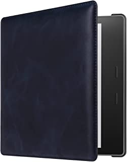 CaseBot Genuine Leather Case for All-New Kindle Oasis (10th Generation, 2019 Release and 9th Generaion, 2017 Release) - Slim Fit Protective Cover with Auto Wake Sleep, Navy