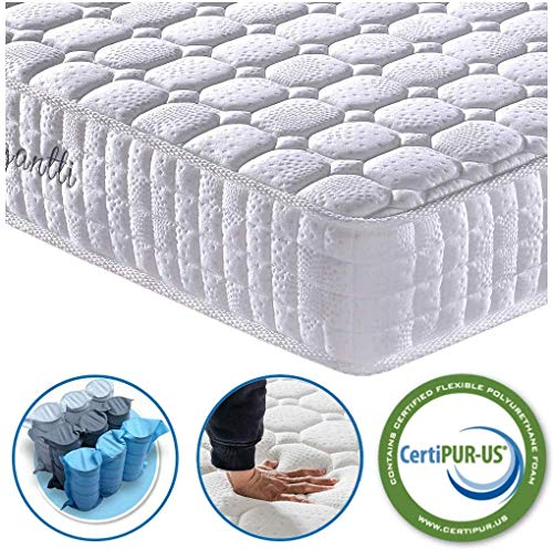 Vesgantti 4FT6 Double Mattress, 9.4 Inch Pocket Sprung Mattress Double with Breathable Foam and Individually Pocket Spring - Medium Plush Feel, Standard Tight Top Collection