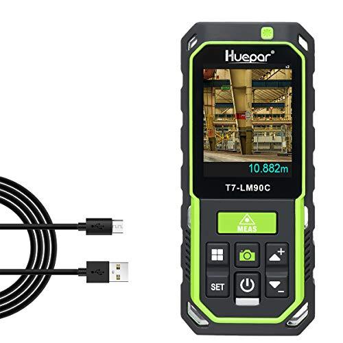 Huepar Distanziometro Laser con Fotocamera 2X/4X Zoom, 90M Alta Precisione Ricaricabile Misura M/In/Ft 17 Modi - Pitagora, Picchetto, Sensore di Inclinazione, Display Retroilluminato a Colori-LM90C