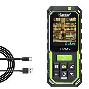 Huepar Medidor Laser con Cámara 2X/4X Zoom, Telémetro Láser 90M Recargable Alta Precisión M/In/Ft 17 Modos-Pitágoras, Estaquillado, Sensor de Inclinación, Pantalla Retroiluminada en Color-LM90C