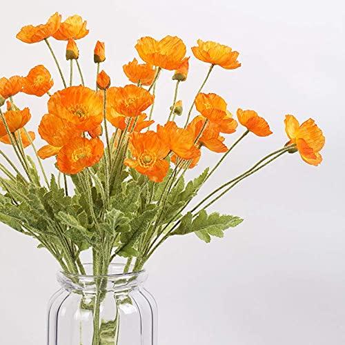Kesio 6 flores artificiales de seda amapola flores falsas para cocina, hogar, jardín, decoración de fiesta (naranja)
