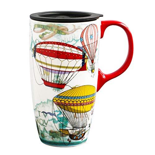 Xiaobing Taza de Gran Capacidad Taza de café de cerámica para el Desayuno con Tapa Taza de Agua para el hogar Pareja -D262-Talla única