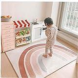 NiceButy Alfombra del Arco Iris, bebé Infantil Play Mat Floor Crawling Suelo Manta Alfombra Nórdico Colorido Rainbow Alfombra Cojín Dormitorio Decoración