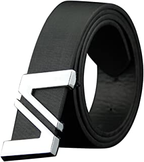 Mens Belts Smooth Matte Artificial Leather Double V Alloy Plate Buckle