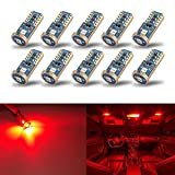 iBrightstar Newest Extremely Bright Wedge T10 168 194 LED Bulbs For Car Interior Dome Map Door Courtesy License Plate Lights, Red