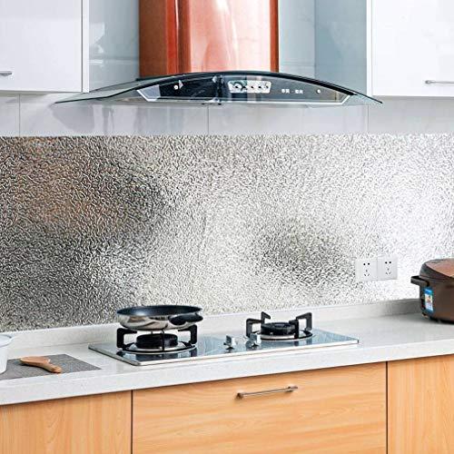 KINLO 60x500M Aluminium Folie Aufkleber Küchen Selbstklebende Küchenfolie Hitzebeständig Tapete Öl-Resistent Wasserdicht Anti-Schimmel DIY Möbel Folie für Küchen/ Schrank/ Möbel/ Tische Typ-A