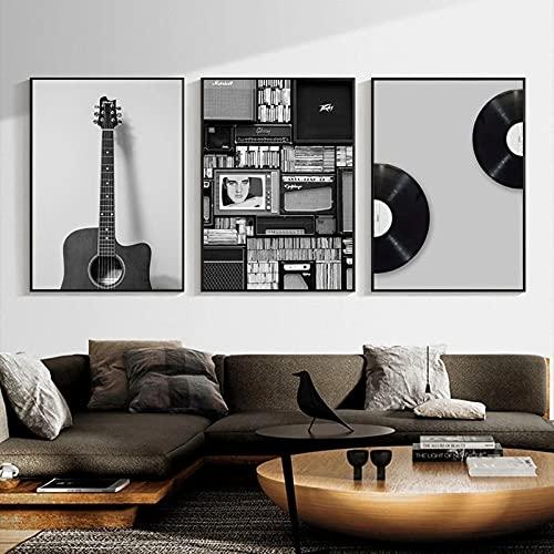 WQHLSH Pintura de Lienzo de Arte de Discos de Vinilo Pósters de música Retro en Blanco y Negro e imágenes Impresas de la Pared para la Sala de Estar decoración del hogar 20x28inchx3 Sin Marco