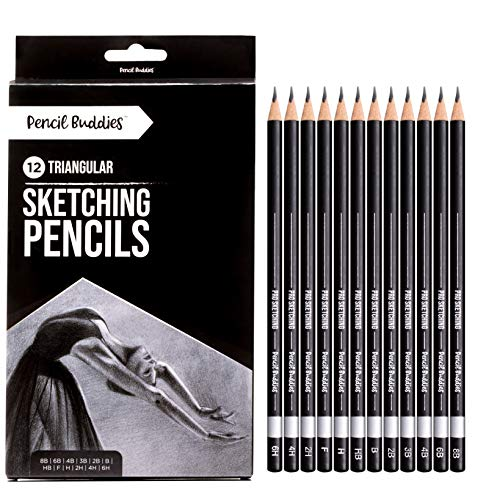 Pencil Buddies Pro Triangular Drawing Sketch Pencils Set - for Shading, Drawing, Sketching Art - 6H, 4H, 2H, H, F, HB, B, 2B, 3B, 4B, 6B, 8B - 12 Triangle Graphite Art Pencils for Adult or Kid Artists