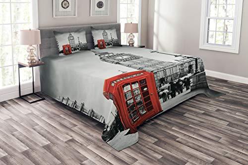 ABAKUHAUS London Tagesdecke Set, Handyzelle Big Ben, Set mit Kissenbezügen Waschbar, für Doppelbetten 264 x 220 cm, Grau Rot