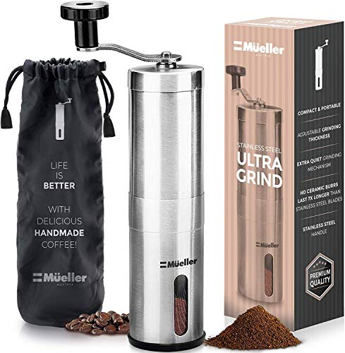 Mueller Austria Manual Coffee Grinder, Whole Bean Conical Burr Mill for French...