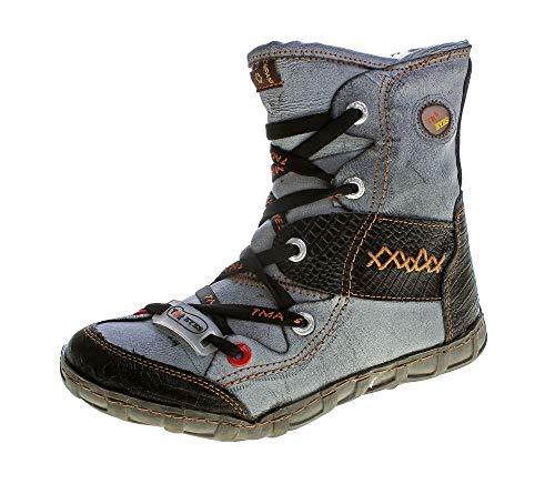 TMA Leder Winter Stiefeletten 2082 Damen Knöchel Schuhe gefüttert Schwarz Stiefel Knöchelschuhe Gr. 36
