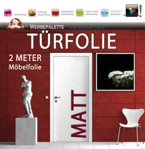 (EUR 6,14 / vierkante meter) deurfolie 2 meter x 1,05 M meubelfolie mat decoratieve folie zelfklevend PREISTIP!
