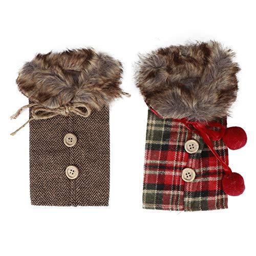 2 piezas de suéter de Navidad fundas para botellas de vino, tela para botellas de vino, vasos para decoración de fiestas de Navidad, adorno(2#)