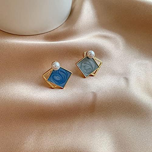 SALAN Pendientes De Clip Geométricos Azules con Encanto para Mujer, Pendientes Cuadrados Redondos Y Llamativos, Pinzas De Oreja De Moda, Joyería
