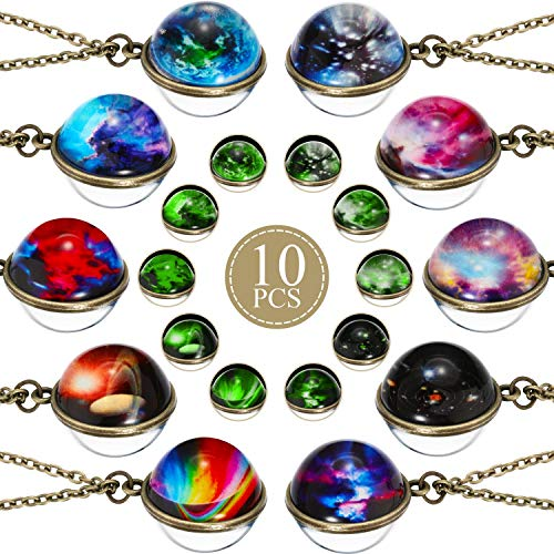 Hicarer 10 Pieces Galaxy Pendant Necklace Nebula Outer Space Necklace Glass Universe Necklace for Costume Props Birthday Party Favors and Goody Bag Fillers