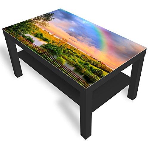 DekoGlas IKEA Lack Beistelltisch Couchtisch 'Countryside Rainbow' Sofatisch mit Motiv Glasplatte Kaffee-Tisch, 90x55x45 cm Schwarz