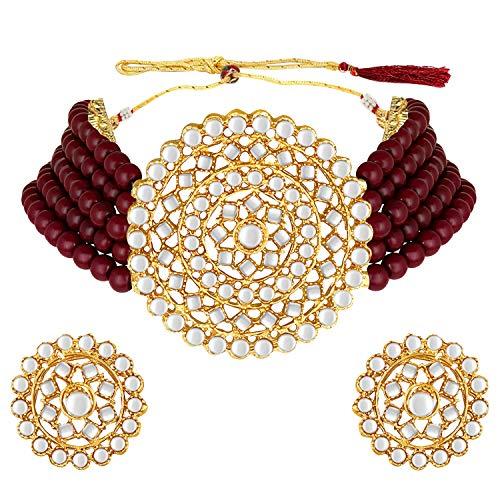 Aheli Gargantilla de perlas de imitación Kundan granate con pendientes redondos, juego de joyería tradicional indio Bollywood para mujeres y niñas