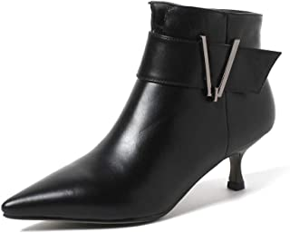 Nine Seven Genuine Leather Women's Pointed Toe Stiletto Mid Heel Side Zip Handmade Graceful Fashion Ankle Boots