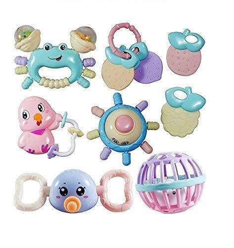 Prime Deals Colourful Silicon Non Toxic BPA-Free Rattles and Teether for Babies Set of 10 Attractive Rattle for New Born and Infants (Multicolour) (Set of 10)