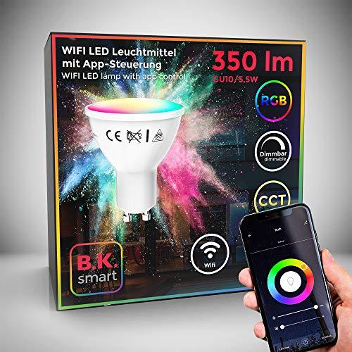 Lampadina LED smart RGB GU10, luce calda fredda colorata, dimmerabile con lo smartphone, funziona con App per iOS e Android, Amazon Alexa, Google Home, lampadina Wi-Fi, 5.5W 350Lm, attacco GU10