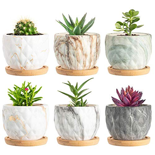 SKCORUK Succulent Pots 3.3inch Potted Modern Style Marble Ceramic Pot Cactus Bonsai Pot Container for Home and Office Decor 6 Pack(Plants NOT Included)