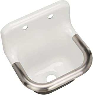 Bannon 22-1/4 In. x 18-1/4 In. Wall-Mounted or P-Trap Mounted Service Sink with Rim Guard and Back Drilled on 8 In. Centers, White