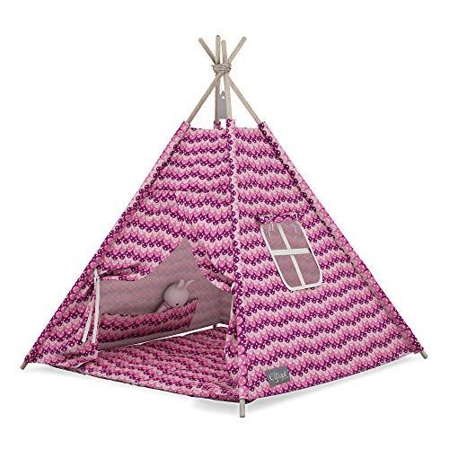 Elfique Tipi - Tienda de campaña para niños, diseño de rayas, color rosa