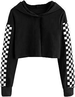 Imily Bela Kids Crop Tops Girls Hoodies Cute Plaid Long Sleeve Fashion Sweatshirts