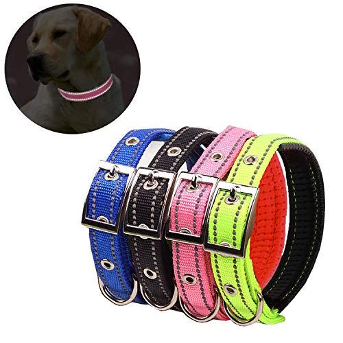 Collar reflectante de cuatro colores, collar de perro de espuma de nailon transpirable, cuello ajustable, adecuado para perros pequeños y medianos, talla M (36-42 cm)