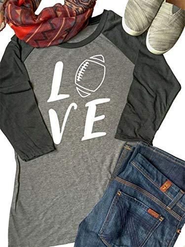 MAXIMGR Damen Baseballbluse mit Aufdruck Love Football, V-Ausschnitt, 3/4-Ärmel - Grau - XX-Large