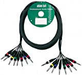 ah Cables KMCO3PPM38 - Cavo multiplo con 8 connettori jack stereo da 6,3 mm su 8 connettori jack stereo da 6,3 mm, 3 m
