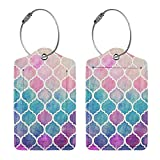 2 Pcs Luggage Tags Paisley Moroccan Geometric, PU Leather Travel Name ID Tags Card Label with Full Back Privacy Cover Stainless Steel Loop, Waterproof Baggage Bag Suitcase Labels Tags