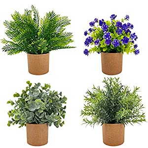 TURNMEON Set of 4 Mini Potted Artificial Plants Fake Flowers with 4 Pots, Green Plants Eucalyptus Boxwood Rosemary for Bathroom Home Office Indoor Tabletop Decor (Green Grey)