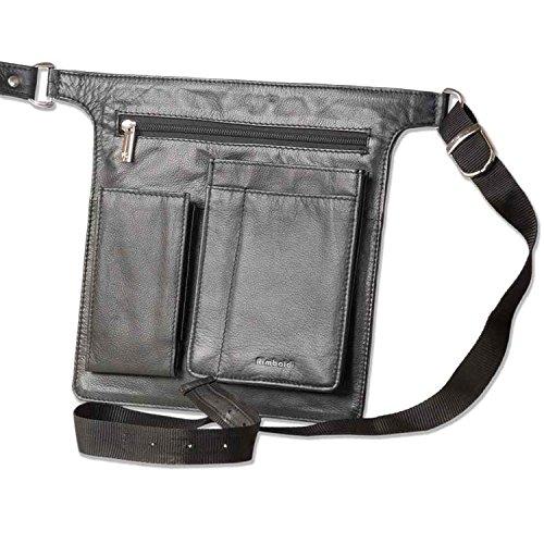 Profi Kellnerholster | Material: Echtes Leder | Farbe: Schwarz | Smartphonefach Reißverschluss | Holster Halfter Kellnertasche | Neu