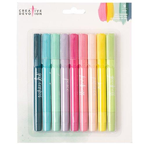 American Crafts 9 Piece Gel Crayons Creative Devotion, Multicolor