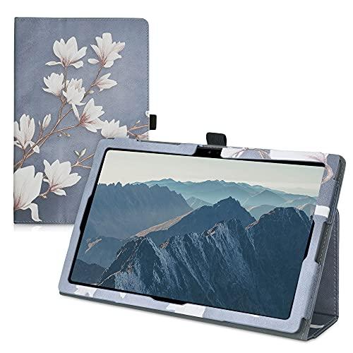 kwmobile Custodia Compatibile con Samsung Galaxy Tab A7 10.4 (2020) - Cover Tablet con Supporto - Copertina in Pelle PU Smart Case con Stand - Magnolie Marrone Grigio Bianco Grigio Blu