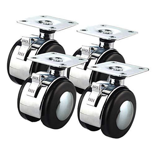 YQ CASTORS 2 Inch Caster Wheels met rem, Super Silent Swivel bureaustoel Caster Wheels, Heavy Duty Bureau Stoel Casters (Pack van 4)