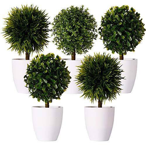 FagusHome 20cm Hoch Künstliche Pflanzen im Topf 5 Stücke künstlichen Buchsbaum Topiary Baum kleinen Kunstpflanzen in weißen Plastiktopf
