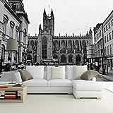 3D Fotomurales Papel pintado Ciudad de edificio blanco y negro No Tejido Murales Moderna Diseño Póster Salón Dormitorio TV Telón de Fondo Pared Hogar Decoración 250x175 cm