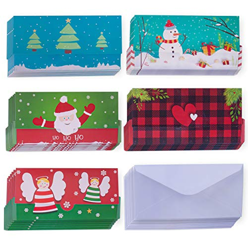 60 Pieces Set Christmas Money Cards with Envelopes Included - Christmas Card Money Holders with Bright and Colorful Designs - Holiday Money Holder Cards Perfect Small Present in the Holiday Season