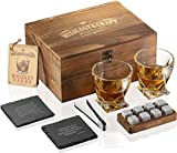 Whiskey Stones Gift Set for Men | Whiskey Glass and Stones Set with Wooden Box, 8 Granite Whiskey...
