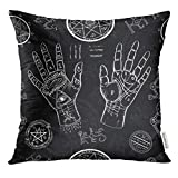 VANMI Throw Pillow Cover White Chiromancy with Human Hands Pentagram and Mystic Symbols on Black Repeated with Life Lines Palms Decorative Pillow Case Home Decor Square 16x16 Inches Pillowcase by VANMI