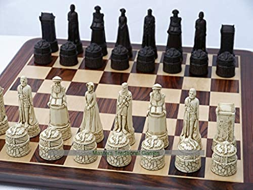 Scottish Themed Ornamental Chess Set (Cream and Brown, no Board)