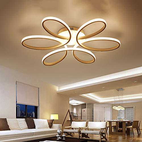 72W LED Gold Deckenleuchten Dimmbar 3000-6000K Modern Blume-Form Design Deckenlampe Aluminium Acryl Schatten Deckenlicht Wohnzimmer Esszimmer Schlafzimmer Büro-Deckenbeleuchtung