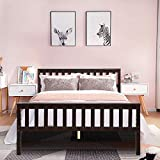 Giantex Deluxe Solid Wood Platform Bed with Headboard & Footboard, 14 Inch Pine Wooden Mattress Foundation, Wood Slats Great Support with Six Legs, No Box Spring Needed, Antique Espresso (Full)