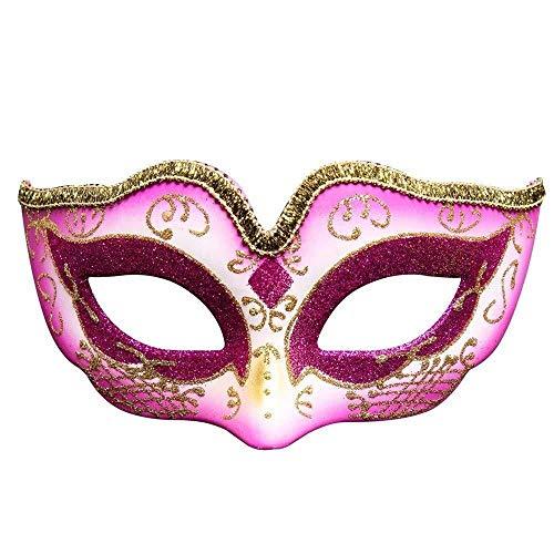 Máscara Mascarada Máscara de graduación Europa y Estados Unidos Fiesta de Disfraces para niños Creativa Personalizada Máscara de Halloween Máscara de atmósfera navideña Máscara (Color: Rojo)